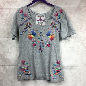 Johnny was gray embroidered bird shirt